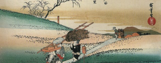Hiroshige_Women_walking_on_a_road_through_the_fields